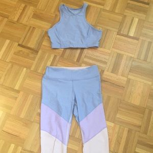 Outdoor Voices purple and pink set (M)